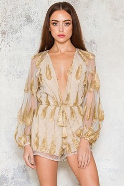 Golden Feathers Playsuit