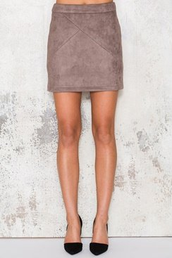 Suede Skirt - Brown
